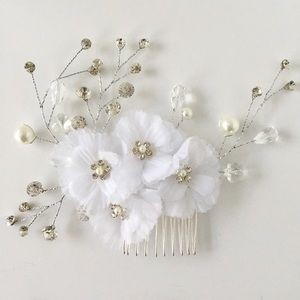NEW FLORAL SILVER GEM BRIDAL WEDDING HAIR COMB